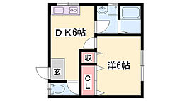 JR播但線 寺前駅 徒歩20分の賃貸アパート 2階1DKの間取り