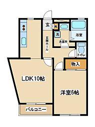 東京都府中市白糸台6丁目の賃貸マンションの間取り