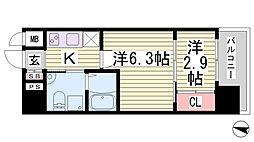 アドバンス三宮ラシュレ[5階]の間取り