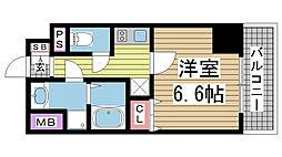 プレサンス神戸元町ミューズ 2階1Kの間取り