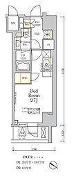 東京メトロ南北線 麻布十番駅 徒歩7分の賃貸マンション 8階ワンルームの間取り