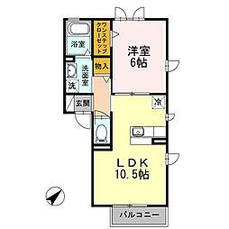 D-room シャルマン ドミールB[2階]の間取り