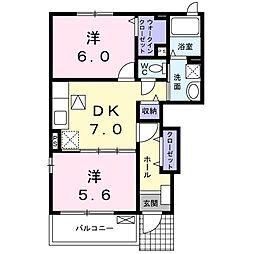 ベルサイユB棟[1階]の間取り