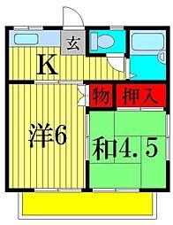 坂田ハイツA[2階]の間取り