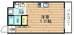 大阪府大阪市港区市岡元町3丁目の賃貸マンションの間取り