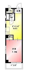 愛知県名古屋市名東区明が丘の賃貸アパートの間取り