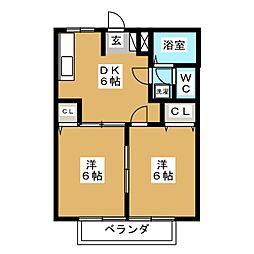 ラフォーレ七和[2階]の間取り