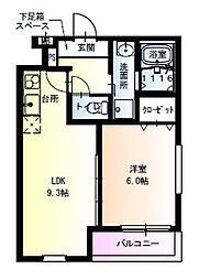 フジパレス瑞光駅東 2階1LDKの間取り