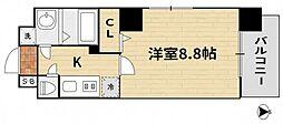 JR山陽新幹線 岡山駅 徒歩16分の賃貸マンション 8階1Kの間取り