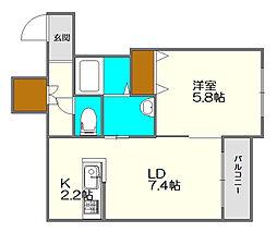 Cozy Place 栄通)コージープレイスサカエドオリ 3階1LDKの間取り
