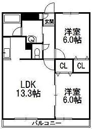 北海道札幌市豊平区美園五条3丁目の賃貸マンションの間取り