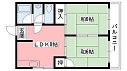 サニーハイツ甲子園[302号室]の間取り