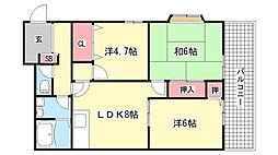 兵庫県芦屋市東芦屋町の賃貸アパートの間取り