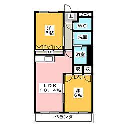 静岡県静岡市駿河区大谷3丁目の賃貸マンションの間取り