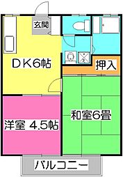埼玉県所沢市上新井4丁目の賃貸アパートの間取り