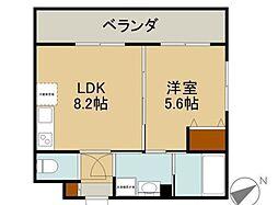 バス 琉大東口下車 徒歩4分の賃貸マンション 4階1LDKの間取り