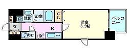 ディクス梅田東レジデンス 4階1Kの間取り