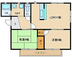 兵庫県姫路市飾磨区構3の賃貸アパートの間取り