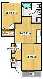 グレース岡崎[1階]の間取り