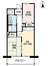URシャレール東豊中 2階2DKの間取り