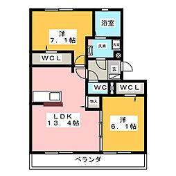 フォレ・クレスト A[2階]の間取り