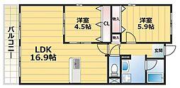 アルデールエスパシオ(東大阪)[4階]の間取り