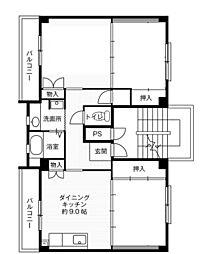 神奈川県平塚市大島の賃貸マンションの間取り