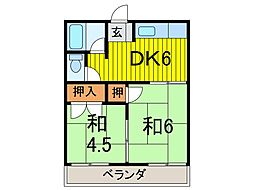 塚越ハイツ[2階]の間取り