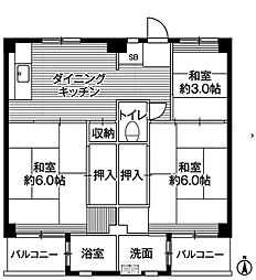 ビレッジハウス寺尾2号棟[2階]の間取り