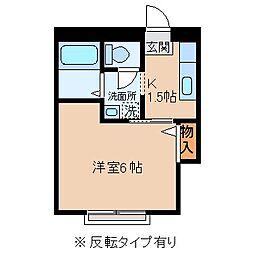 長野県諏訪市赤羽根の賃貸アパートの間取り