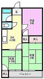 芳栄ハイツ[3階]の間取り