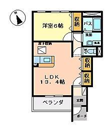 パーチェA棟[1階]の間取り