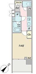 グランピア西新宿 9階1Kの間取り