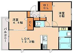 福岡県福岡市南区若久4丁目の賃貸アパートの間取り