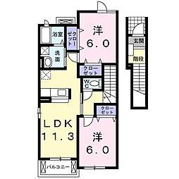 フィオーレA[2階]の間取り