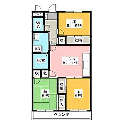 ヤマキンマンション[1階]の間取り