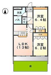 愛知県あま市方領屋敷の賃貸アパートの間取り