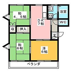 横山マリノス B[1階]の間取り