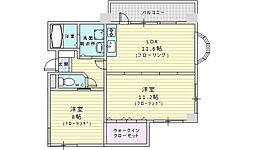 北大阪急行電鉄 桃山台駅 徒歩12分の賃貸マンション 4階2LDKの間取り
