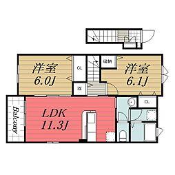 JR成田線 布佐駅 徒歩12分の賃貸アパート 2階2LDKの間取り