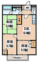 正楽北田ハイツA棟[1階]の間取り