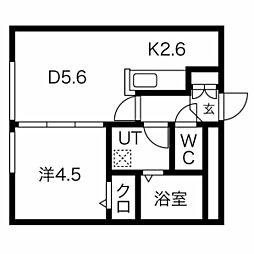 エルフ11 3階1DKの間取り