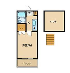 兵庫県尼崎市元浜町3丁目の賃貸アパートの間取り