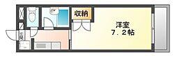 岡山県岡山市北区奥田西町の賃貸アパートの間取り