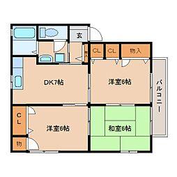 静岡県静岡市清水区草薙一里山の賃貸アパートの間取り