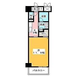 ベルオレイル 8階1Kの間取り