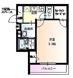 フジパレス井高野2番館 3階1Kの間取り