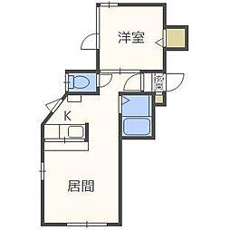 北海道札幌市白石区の賃貸アパートの間取り