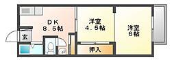 岡山県岡山市南区芳泉2丁目の賃貸アパートの間取り