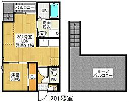 愛知県名古屋市千種区春里町1丁目の賃貸アパートの間取り